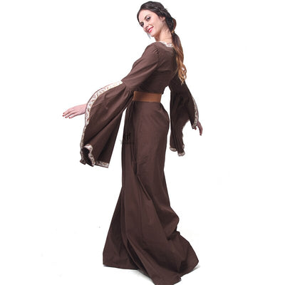 Rolecos Renaissance Victorian Medieval Maid Long Dresses Women Evening Dresses Brown Gowns Masquerade Party Costumes