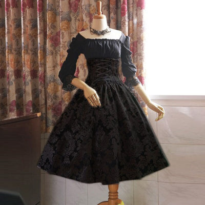 S5XL Off Shoulder Lolita Princess Lace Dress Women's Waist Cinchered Pin Up Costume Goth LaceUp Clothing Ladies Plus Size