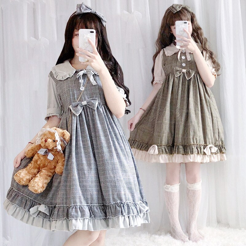 Sweet Lolita Dress Vintage Peter Pan Collar Bowknot High Waist Shortlong Sleeve Lattice Victorian Dress Kawaii Loli Cos