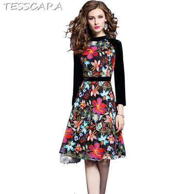 TESSCARA Women Floral Embroidery Mesh Dress Velvet Robe Femme Vintage Designer Office Party Vestidos