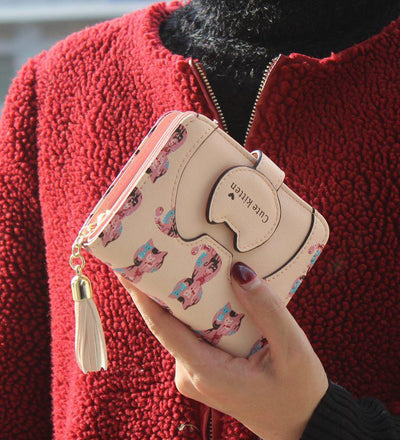 Tassel Cartoon Cat Women Wallet Printing PU Leather Women Walelt Designed Coin Purse Card Holder Cute Wallet