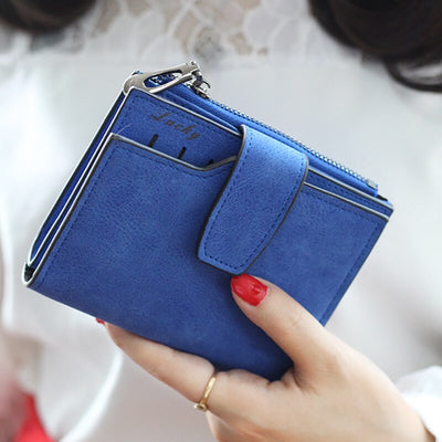 Vintage Matte Women Wallet Bag Ladies Casual Leather Hasp Zipper Pouch Short Clutch Solid Small Purse