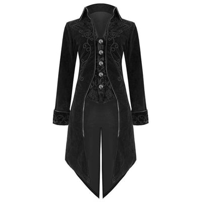 Vintage Medieval Costume Men Long Coat Solid Black Color Punk Retro Tuxedo Medieval Dress Halloween Christmas Cosplay