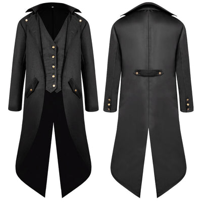 Vintage Medieval Costume Men Long Coat Solid Color Punk Retro Tuxedo Male Uniform Medieval Dress Cosplay Christmas Halloween