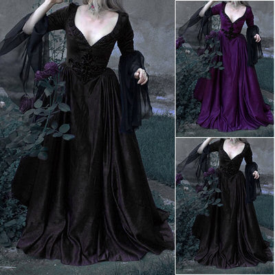 Vintage Medieval Vampire Cosplay Costumes Women Retro Witch Victoria Long Cosplay Dress Vneck Waist Dress