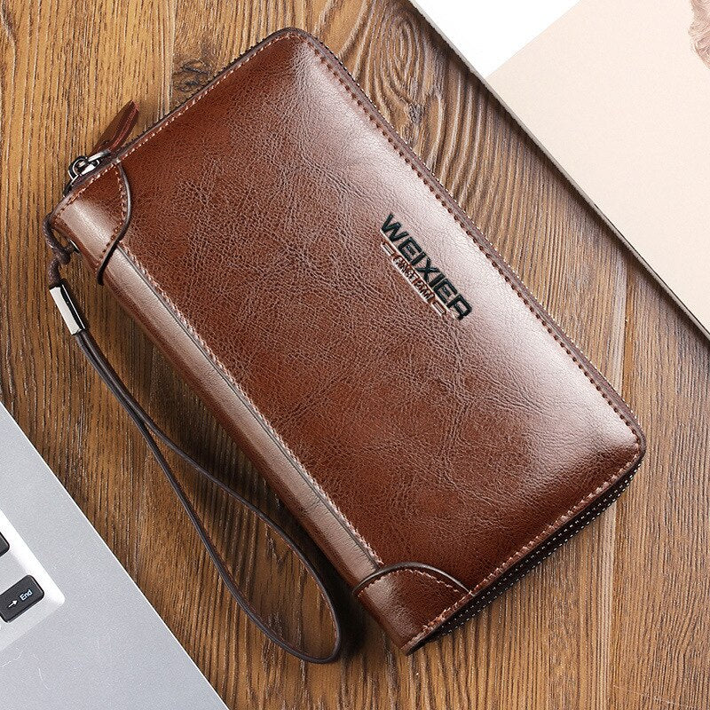 Vintage Men Leather Wallet ID Card Holder Zip Around Large Capacity Money Bag