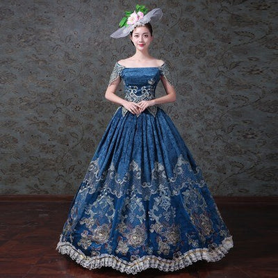 Vintage Royal Court Stage Costume Medieval Renaissance Victorian Ball Gown Dress With Hat