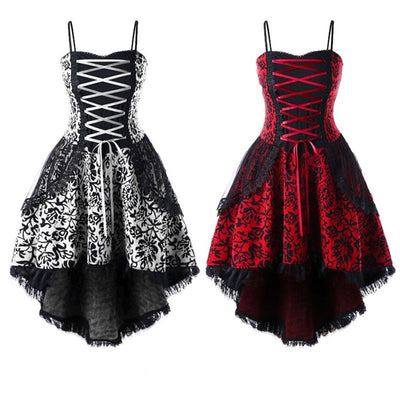 Vintage Woman Halter Dresses Medieval Steampunk Gothic Style Palace Princess Clothes Lace Up Party Halloween Evening Dress