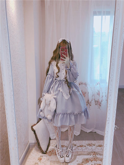 Vintage Sweet Lolita Dress Kawaii Palace Lace Victorian Dress Tea Party Princess Gothic Lolita Op Cosplay Loli Op