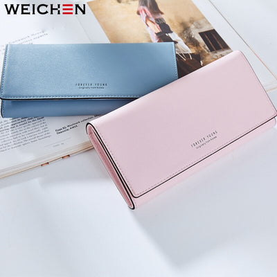 WEICHEN Many Departments Long Wallet Women Ladies Purses Card Holder Zipper Coin Phone Pocket Wallets Clutch