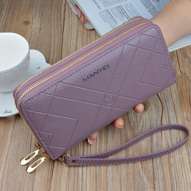 Wallet Leather Wallet Leisure Purse Double Zipper Women Wallets Long Coin Purse Card Holders Carteras LSH514