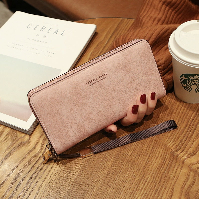 Wallet Women Mobile Phone Bag Designer Card PU Leather Long Wallets Purses Ladies Slim Card Holder Purse
