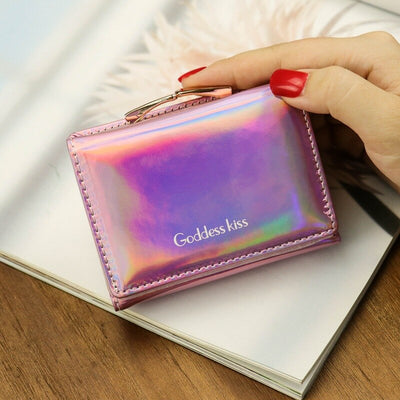 Women Holographic Wallets Ladies Designer Mini Coin Pink Purse Money Bag Cute Silver Laser Leather Small Wallet 560
