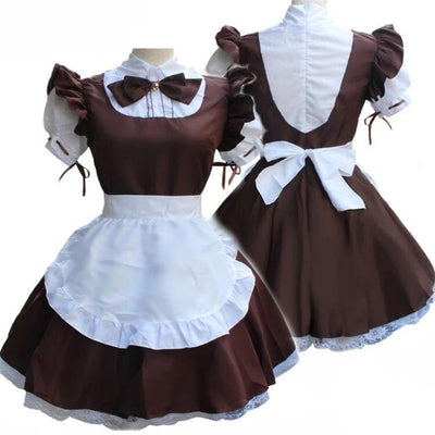 Women Ladies Fashion Short Sleeve Doll Collar Retro Maid Dress Cute French Maid Outfit Cosplay Costume Plus Size S5XL