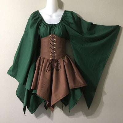 Women Medieval Elf Fairy Elven Cosplay Costume Wench Celtic Princess Formal Dress High Waist Party Skirts Cincher Top Corset Set