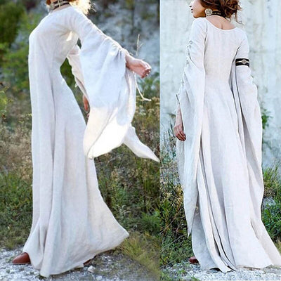 Women Renaissance Floor Length Dress Chemise Dress Garb Costume Long Sleeve Medieval Gothic Dress Gown Cosplay Costume SXXXXXL