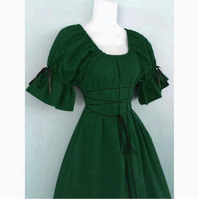 Women Renaissance Victorian Medieval Maid Long Dresses Short Sleeve Cosplay Ball Gowns Costumes Retro Party Evening Dresses