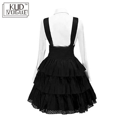 Women Retro Gothic Lolita Dress Vintage Inspired Women Outfits Cosplay Black Bow Long Sleeve Cake Shirt Dress 5XL Plus Size