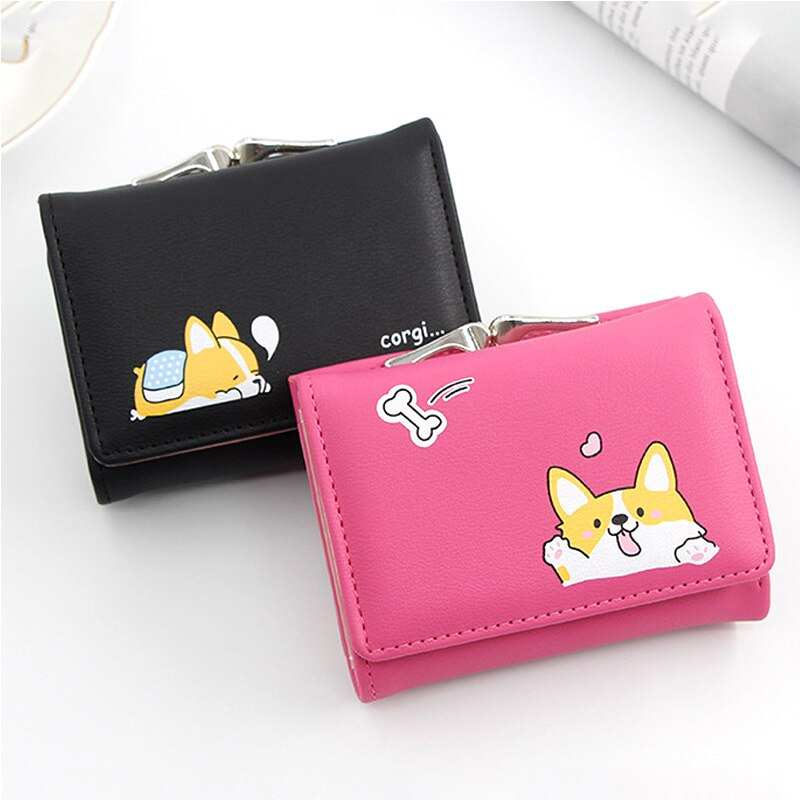 Women Small Wallets Cartoon Cute Corgi Doge Design Ladies Wallets PU Leather Short Money Purses With Coin Pocket