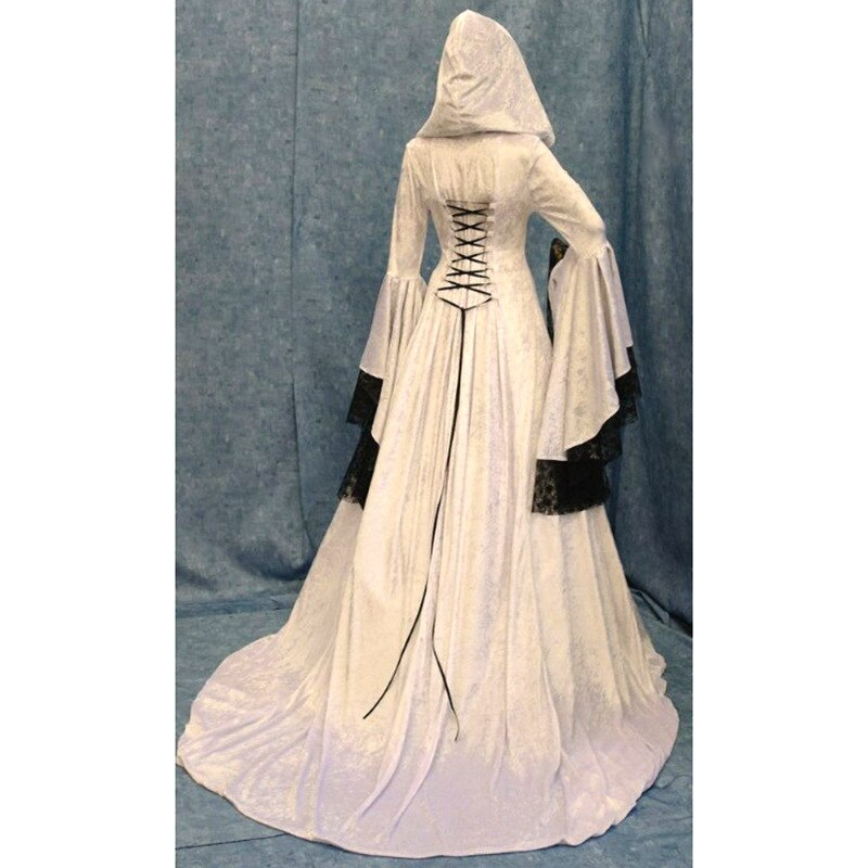 Purple and Ivory Hooded Renaissance Sorceress Gown