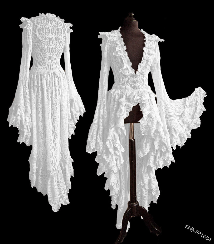 Women Vintage Solid Lace Wedding Dress Medieval Cardigan Cosplay Long Tail Pleated Outwear Victorian Ball Gown