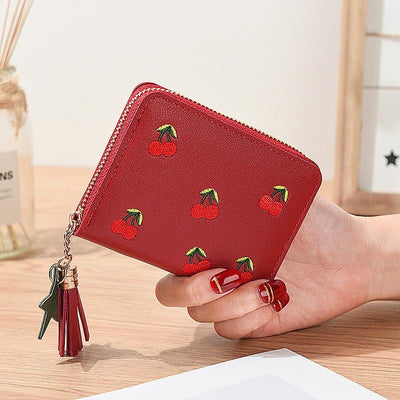 Women Wallets Cherry Short Lady Zipper Coin Purse Tassel Woman Clutch Purses Cards Holder Wallet Burse Bags Pocket
