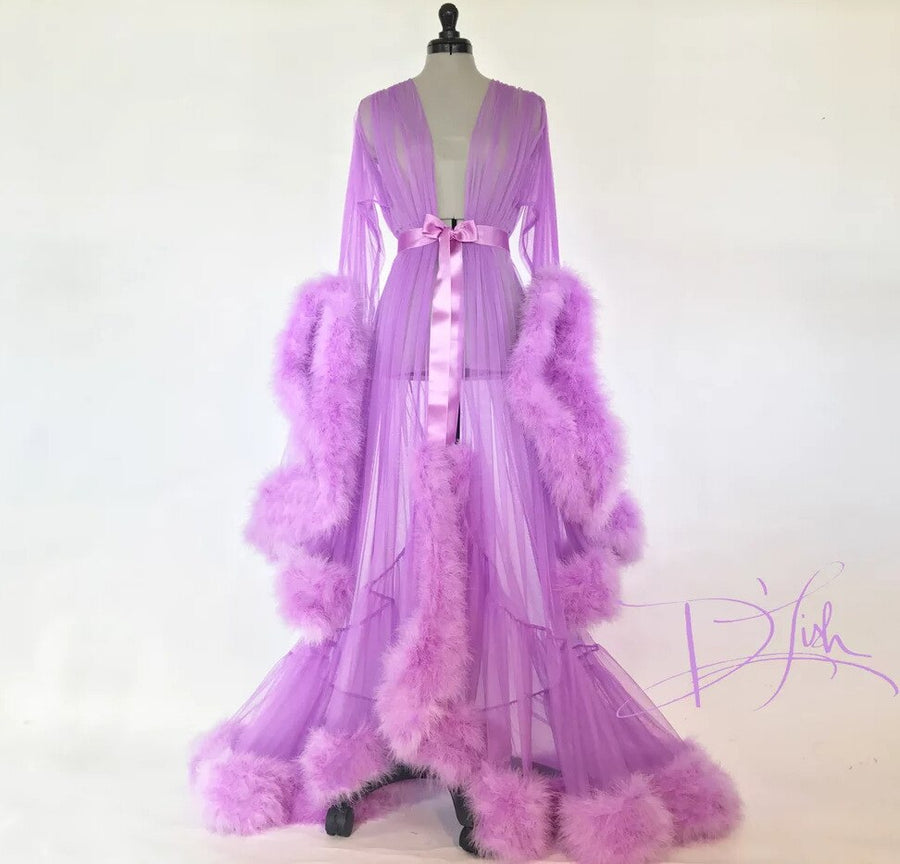 Women's Fashion Medieval Vintage Semitransparent Bridal Gowns Feather Wedding Robe Tulle Fantasy Furry Edge Fairy Outwear Dress