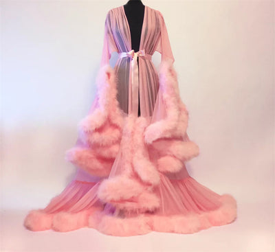Women's Medieval Vintage Semitransparent Bridal Gowns Feather Wedding Robe Tulle Fantasy Furry Edge Fairy Outwear Costume Dress