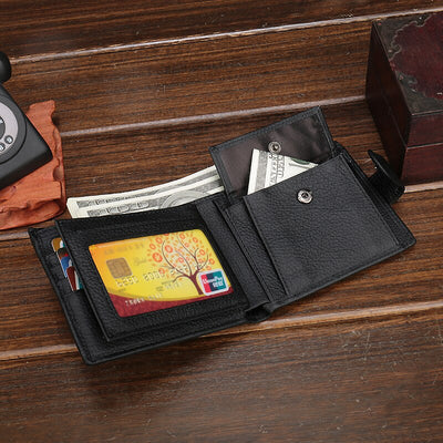 XDBOLO Genuine Leather Wallet Fashion Short Bifold Men Wallet Casual Men Wallets With Coin Pocket Purses Male