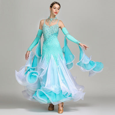 Blue Sequins Standard Ballroom Dress Woman Ballroom Dance Competition Dresses Dance Wear Woman Dance Costume Waltz Dress