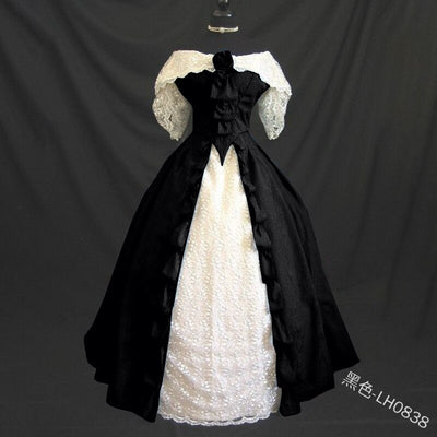 Black Vintage Costumes 18th Duchess Retro Medieval Renaissance Reenactment Theatre Civil War Victorian Dress