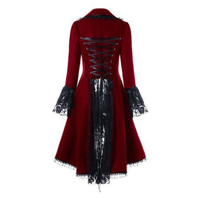 Othic Retro Women Lace Trim Long Coat Medieval Victorian LaceUp Bandage Jacket Women Christmas Party Dress Overcoat
