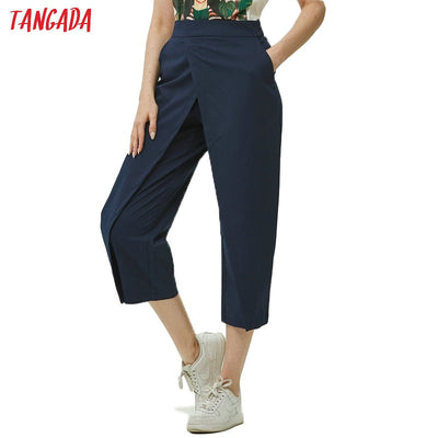 Tangada women elegant navy pants 2019 ladies casual harem pants cotton cool korean fashion trousers mujer XD449