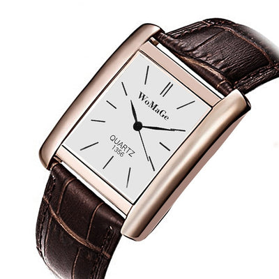 WoMaGe Women's Watches Top Brand Luxury Rectangle Ladies Watch Women Watches Leather Strap Women Wrist Watch Clock Reloj Mujer