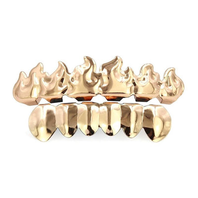 Types Hip Halloween Shape Decor Fire of Upper Hop Lower etc Punk Party Copper 2Pcs Teeth Pc Outdoor Rapper Braces All