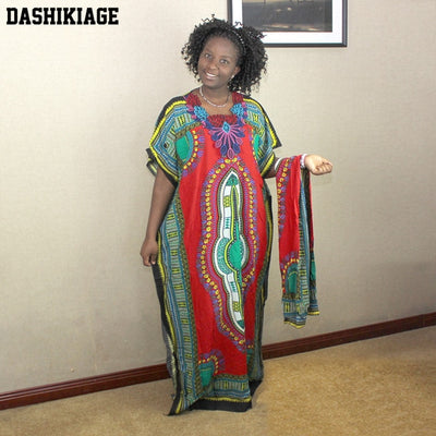 Dashikiage New Fashion Women Traditional African Print Dashiki Party Plus Size Long Dress
