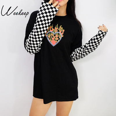 Weekeep Women Plaid Patchwork Long Sleeve Flaming Heart Print Sweatshirt 2017 Autumn Winter Black Checkboard Pullover Hoodies