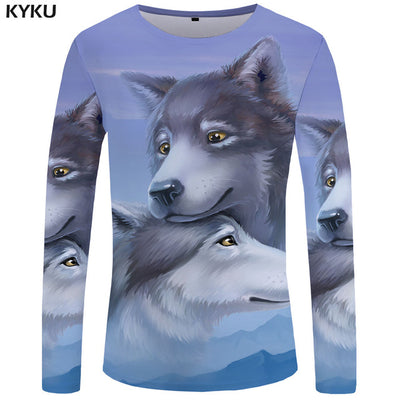 KYKU Brand Motorcycle Long sleeve T shirt Skull Clothing Skeleton Tees Punk Tops  Tshirt  3d T-shirt Men Rock Sexy Slim New
