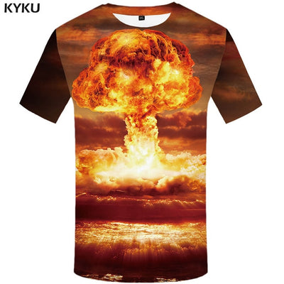 KYKU Motorcycle T-shirt Punk Clothing Retro Clothes Mechanical Tshirt  Tops  Tees Men Funny 3d t-shirt Mens Tee Print Summer