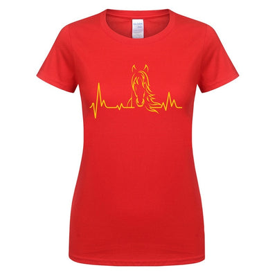 Women Girl Heartbeat of Horse T Shirts Summer Style Short Sleeve Cotton Cute Riding Horse Woman T-shirts Female Tee Tops OT-606
