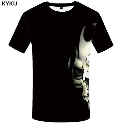 KYKU Brand Skull T shirt Blood Clothes Funny Clothing Hip-Hop Tees 3D Tops  T-shirt Men Short Sleeve Male Fashion Homme