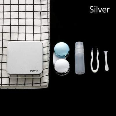 2018 1Pcs ABS Plastic square mirror cover colorful contact lens case Travel Container Holder Storage Soaking Box Case Hot Sale