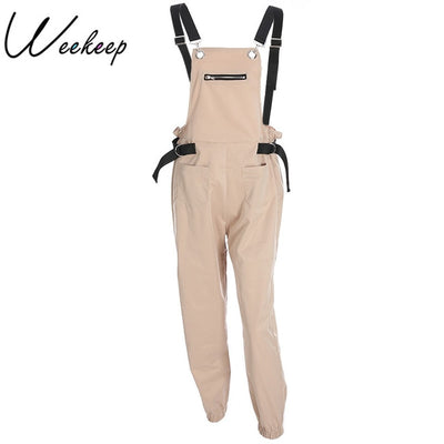Weekeep Women Fashion Loose Calf Length Wide Pants Rompers 2018 Casual Cotton Womens Jumpsuit Overalls Strap Backless Jumpsuits