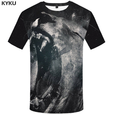 KYKU Lion T Shirt Men Animal Tshirt Sex Funny T Shirts Slim 3d Print T-shirt Hip Hop Tee Cool Mens Clothing 2018 New Summer Top