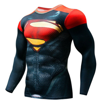 Hot Sale Cycling Fitness Base Layer Compression Shirt Men Anime Bodybuilding Long Sleeve Crossfit 3D Superman Punisher Jersey