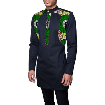 Patchwork men's africa clothing men dashiki shirts stand collar fashion long sleeve shirt custom made african clothes