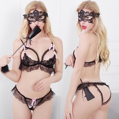Women Hot Sexy Erotic Lingerie Set Open Bra Crotch Lace Bras Bottom Sleepwear Sexy Babydoll Erotic Suit Costume Ladies Nightwear