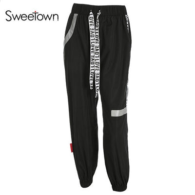 Sweetown Plus Size Pantalon Large Femme Black Harajuku Cargo Sweat Pants Korean Style High Waist Baggy Joggers Women Sweatpants
