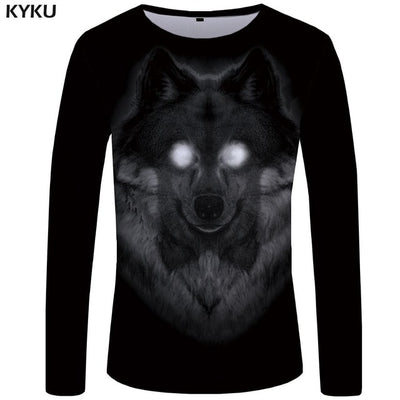 KYKU Wolf T shirt Men Long sleeve shirt Love Streetwear Snow Graphic Mountain Clothes Jungle 3d T-shirt Hip hop Mens Clothing