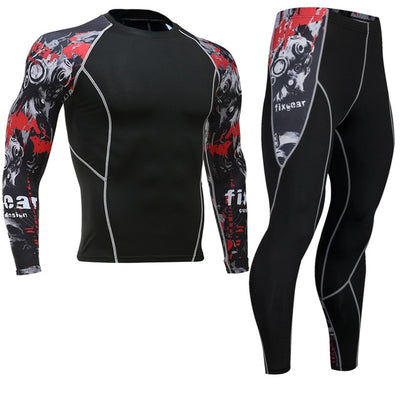 Newest Fitness Compression Sets Jerseys Men 3D Printed MMA Crossfit Muscle Shirt Leggings Base Layer Tights Cycling Base Layers